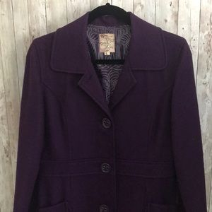 Anthropologie tulle purple button front pea coat